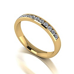 Moissanite - 9ct gold 0.33ct total band ring