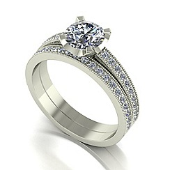 Moissanite - 9ct white gold 1.40ct total wedding set