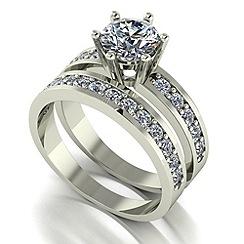 Moissanite - 9ct white gold 2ct total wedding set