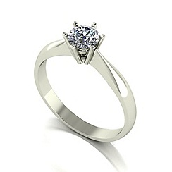 Moissanite - 9ct white gold 5mm 1/2ct equivalent round ring