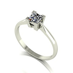 Moissanite - 9ct white gold 5.0mm 1/2ct equivalent square ring