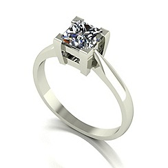 Moissanite - 9ct white gold 5.5mm 1.05ct equivalent square ring