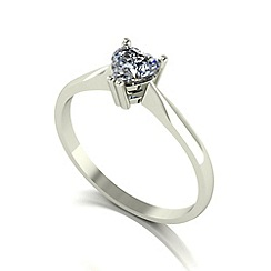 Moissanite - 9ct white gold 6.5mm 1/2ct equivalent heart ring