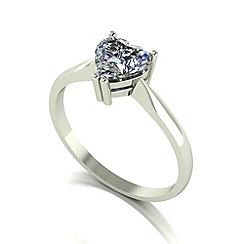 Moissanite - 9ct white gold 6.5mm 1ct equivalent heart ring