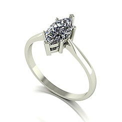 Moissanite - 9ct white gold 6.5mm 1ct equivalent marquise ring