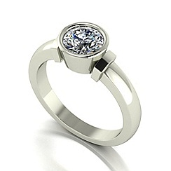 Moissanite - 9ct white gold 6.5mm 1ct equivalent round ring