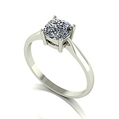 Moissanite - 9ct white gold 6.0mm 1.1ct equivalent cush ring