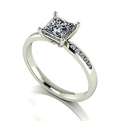 Moissanite - 9ct white gold 1.15ct total ring
