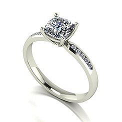 Moissanite - 9ct white gold 1.20ct total ring