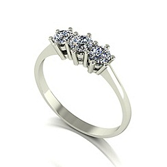 Moissanite - 9ct white gold 0.50ct equivalent trilogy ring
