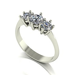 Moissanite - 9ct white gold 1.00ct equivalent trilogy ring
