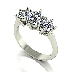 Moissanite - 9ct white gold 2.00ct equivalent trilogy ring