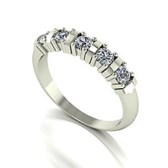Moissanite - 9ct white gold 0.50ct equivalent 5 stone ring