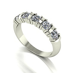Moissanite - 9ct white gold 1.00ct equivalent 5 stone ring