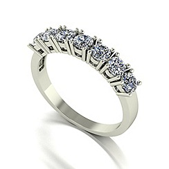 Moissanite - 9ct white gold 1.00ct equivalent 7 stone ring
