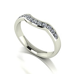 Moissanite - 9ct white gold 0.33ct total ring