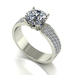 Moissanite - 9ct white gold 2.50ct total ring