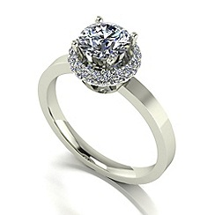 Moissanite - 9ct white gold 1.36ct total ring