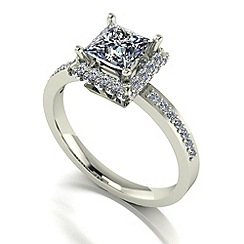 Moissanite - 9ct white gold 1.55ct total ring