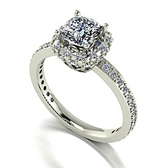 Moissanite - 9ct white gold 1.60ct total ring