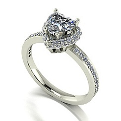 Moissanite - 9ct white gold 1.50ct total ring