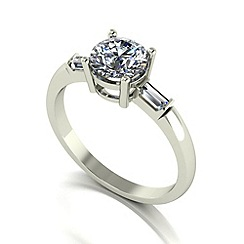 Moissanite - 9ct white gold 1.25ct total ring