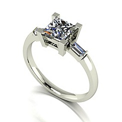 Moissanite - 9ct white gold 1.30ct total ring