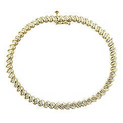 Love Story - Silver and 9ct gold plated diamond set bracelet