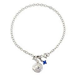 Pawprints - Silver diamond set charm bracelet