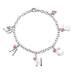 Pineapple - White bronze bracelet with pink enamel hearts