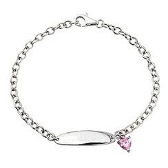 Precious Moments - Sterling silver & pink cz charm bracelet
