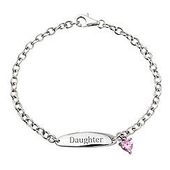 Precious Moments - Sterlilng silver & pink cz charm 'Daughter' bracelet