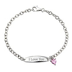 Precious Moments - Sterling silver & pink cz charm 'I Love You' bracelet