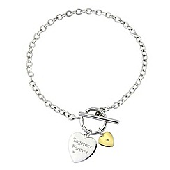 Precious Moments - Silver, 9ct gold together forever diamond bracelet