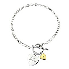 Precious Moments - Silver, 9ct gold 'love always' diamond bracelet