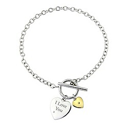 Precious Moments - Silver, 9ct gold, 'i love you' diamond bracelet