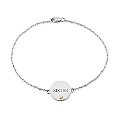 Precious Moments - Sterling Silver and 9ct Gold Chain  Link Bracelet. 'Sister'