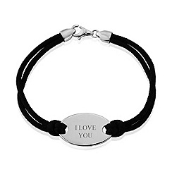 Precious Moments - Sterling silver black silk cord ladies bracelet with 'i love you'