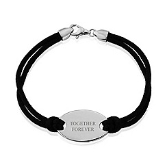 Precious Moments - Sterling silver black silk cord ladies bracelet with 'together forever'