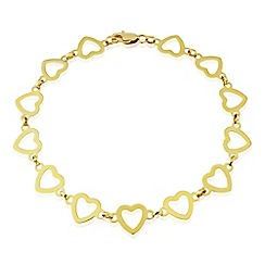 Love Story - 9ct gold heart bracelet