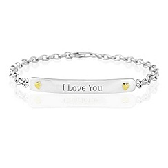 Precious Moments - Sterling silver & 9ct gold ' I Love You' bracelet