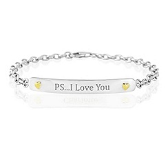 Precious Moments - Sterling silver & 9ct gold 'PS..I Love You' bracelet
