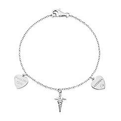 Precious Moments - Sterling Silver Medical 'Alert' Caduceus Stone Set 'ASTHMA' Bracelet