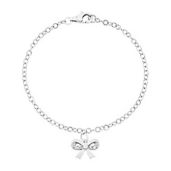 Love Story - Sterling Silver Stone-Set Bow Bracelet