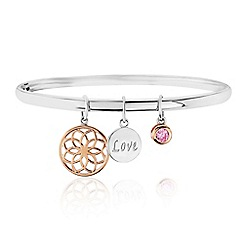 Precious Moments - Silver 'Love' Bangle With Rose Gold Plated Detail
