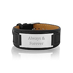 Love Story - Gents black leather 'Always & Forever' bracelet
