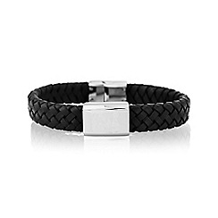 Precious Moments - Gents leather stainless steel bracelet
