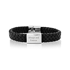 Precious Moments - Gents 'Always and forever' leather stainless steel bracelet