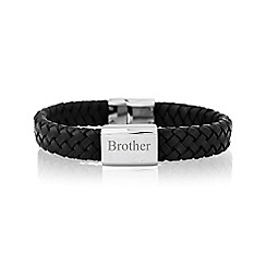 Precious Moments - Gents brother leather stainless steel bracelet