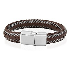 Precious Moments - Gents stainless steel brown leather bracelet